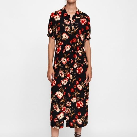 2e7557d9 Zara Dresses   Size Small Black Floral Print Maxi Dress   Poshmark